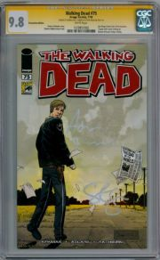 Walking Dead  #75 SDCC CGC 9.8  Signature Series Signed Adrian Kali Turner & Steven Yeun Image comic